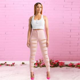 High waist, slim fit, holes, stretch pants