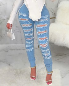 Stretch, hole, wind jeans, Leggings