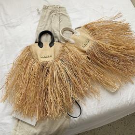Tassel, straw woven, small bag, woven, single shoulder, Messenger Bag