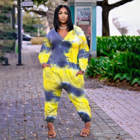 Casual, fashion, tie dyeing, large size, Jumpsuit
