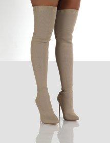 Flying weaving, long tube, high heels, women's boots, over knee, Martin boots