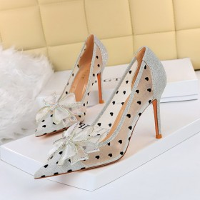 Thin heel, ultra-high heel, shallow mouth, pointed end, hollow out, Rhinestone, bow single shoes