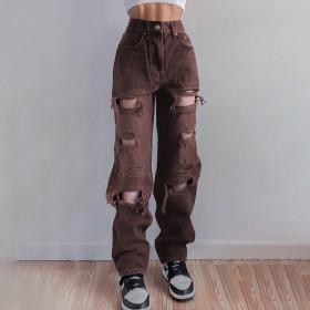 Asymmetric, holes, jeans, high waist, hip lift, straight tube, casual pants