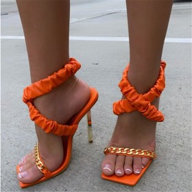 Metal chain, high-heeled, fish mouth, sandals, cross, bandage, high-heeled sandals