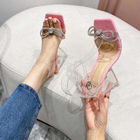 Transparent, triangular high heels, rhinestones, bows, sandals