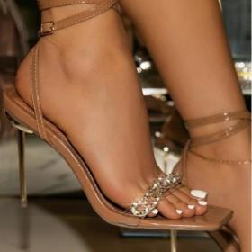 Rhinestone, chain, i-belt, square head, thin high heels, sandals