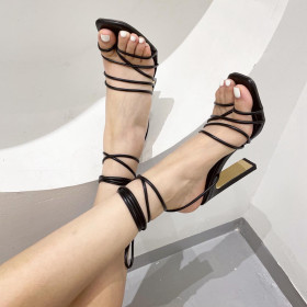 Square head, flat heel, high heel, ribbon, toe clip, sandals