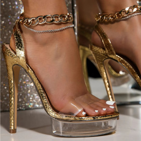 Water table, thin high heels, metal chain, transparent sandals