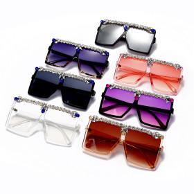 Hand set diamond, square, large frame sunglasses