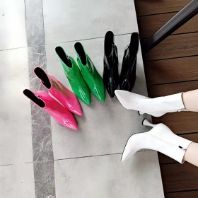 Pointed, patent leather, candy color, boots, heels, women's Boots
