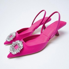 Rhinestone, temperament, pointed, flat, single shoe, sandal