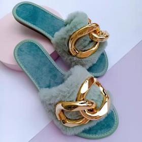 Metal chain, flat shoes, woolen shoes