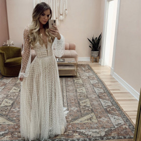 Deep V, slim fit, dress, long sleeve, dress