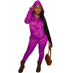 Casual, lettered, hooded, reflective, satin, pull frame, sports suit