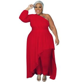 Diagonal shoulder, long sleeve, irregular, large dress
