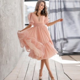 Deep V, medium sleeve, dress, medium skirt