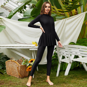 Long sleeves, trousers, conservative, beach, surfing, sunscreen swimsuit, Muslim one-piece swimsuit