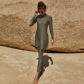 Muslim, long sleeved swimsuit, suit, conservative, pleated, half high collar, swimsuit two-piece set