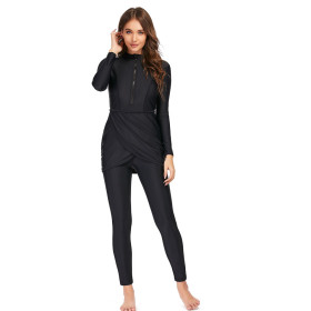 Muslim swimsuit, long sleeve, long pants, three piece set, conservative sunscreen, with breast pad