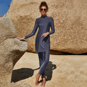 Solid color, long sleeves, long pants, conservative, sunscreen swimsuit, Muslim swimsuit two-piece set