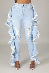 Leaf edges, tassels, washing holes, stretch jeans