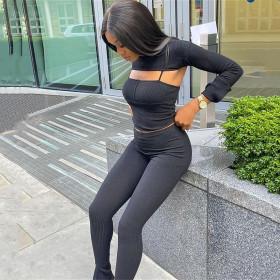 Suspender, long sleeve, tight fitting, sports pants, three piece set