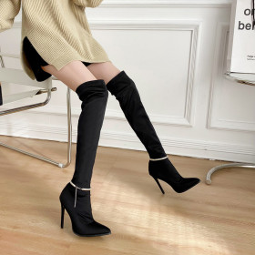 Pointed, stiletto, elastic, metal knee high boots