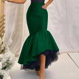 High waist, stitching, mesh, Hip Wrap Skirt, fishtail skirt, half skirt, long skirt