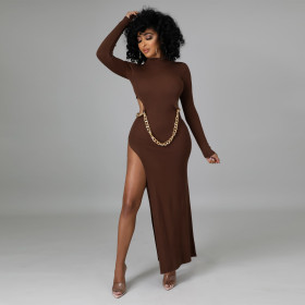 High collar, long sleeves, tight fitting, high split, dress(without belt)