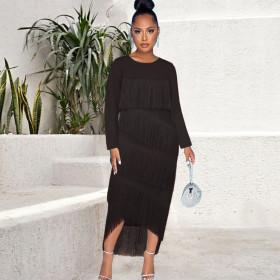 Round neck, long sleeve, high waist, Hip Wrap Skirt, stitching, tassels, dress