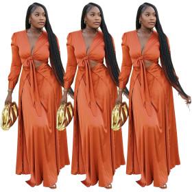 Fashion, split, long sleeved, waist closed, dress