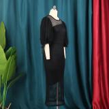 Round neck, perspective, mesh, lantern sleeve, high waist, dress