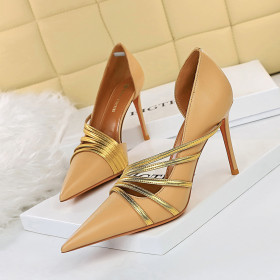 High heels, thin heels, color matching, belts, side hollow single shoes