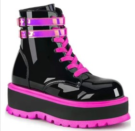 Muffin, thick soled, bright leather, short boots, lace up Martin boots