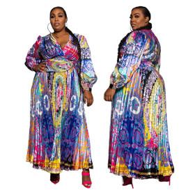 Printed, retro, loose, pleated, large swing, dress