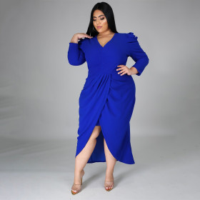 Large, dress, V-neck, irregular, long sleeve, solid color, split, fat woman skirt