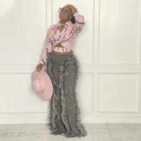 Corduroy, plush edge, solid color, flared women's pants