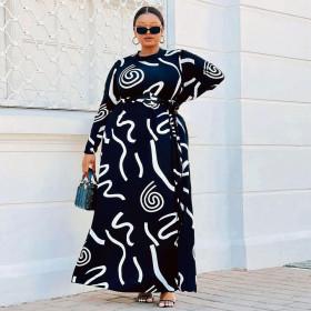 Printed, slim, long sleeved, dress