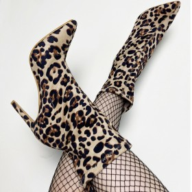 Leopard print, pointed head, women's boots, thin heels, suede