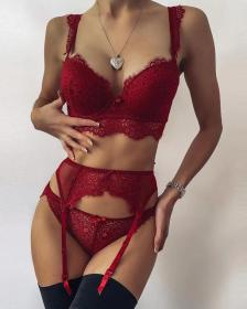 Sexy underwear, eyelash edge, lace, semi perspective, suspender socks, suit
