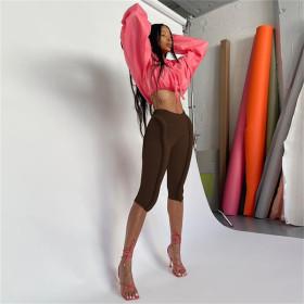 Fluorescent, high waist, hip lift, tight, sports, casual pants