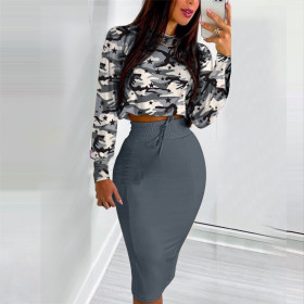 Long style, casual, solid color, round neck, long sleeve, split skirt, suit