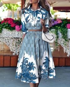 Print, trend, blouse, skirt suit