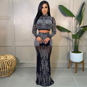 Mesh, perspective, long sleeve, long skirt, two piece set