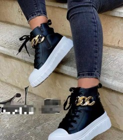 Muffin, thick bottom, metal chain, leisure sports, lace up, leather boots