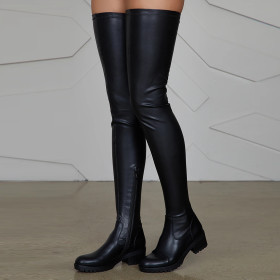Long tube, elastic, low thick heel, boots