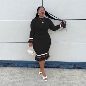 Solid color, pullover, medium length dress