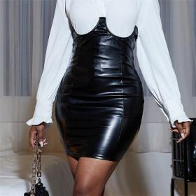 PU leather, tight, Hip Wrap, high waist, skirt