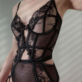 Embroidery, heavy craft, lace, mesh, splicing Jumpsuit