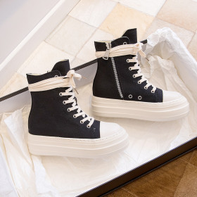Thick sole, high top shoes, side zipper, canvas, lace up, heightening, muffin shoes